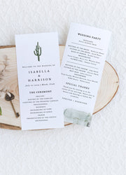 Eleanor - Bohemian Cactus Wedding Program Template