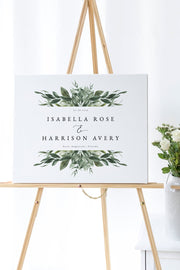 Lana - Modern Greenery Wedding Welcome Sign Template - Unmeasured Events