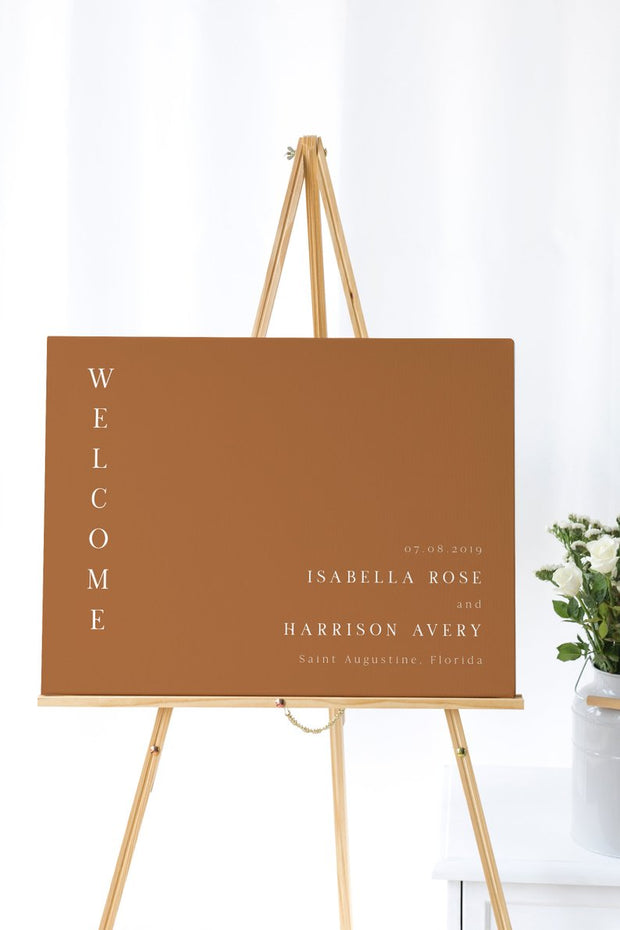 Mia - Burnt Orange Wedding Welcome Sign Template - Unmeasured Events