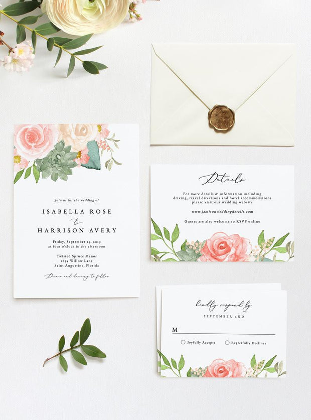 Finley - Rustic Peach Floral & Succulent Wedding Invitation Template Suite