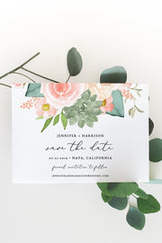 Finley - Rustic Peach Floral & Succulent Wedding Save the Date Template