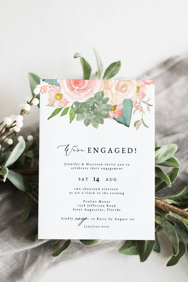 Finley - Rustic Peach Floral & Succulent Engagement Party Invitation Template