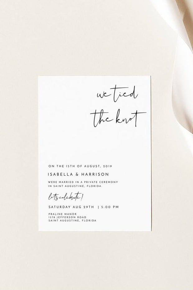 Adella - Modern Minimalist Elopement Announcement Template - Unmeasured Events