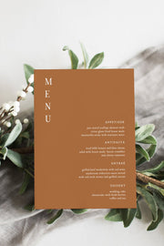 Mia - Burnt Orange Wedding Menu Template - Unmeasured Events