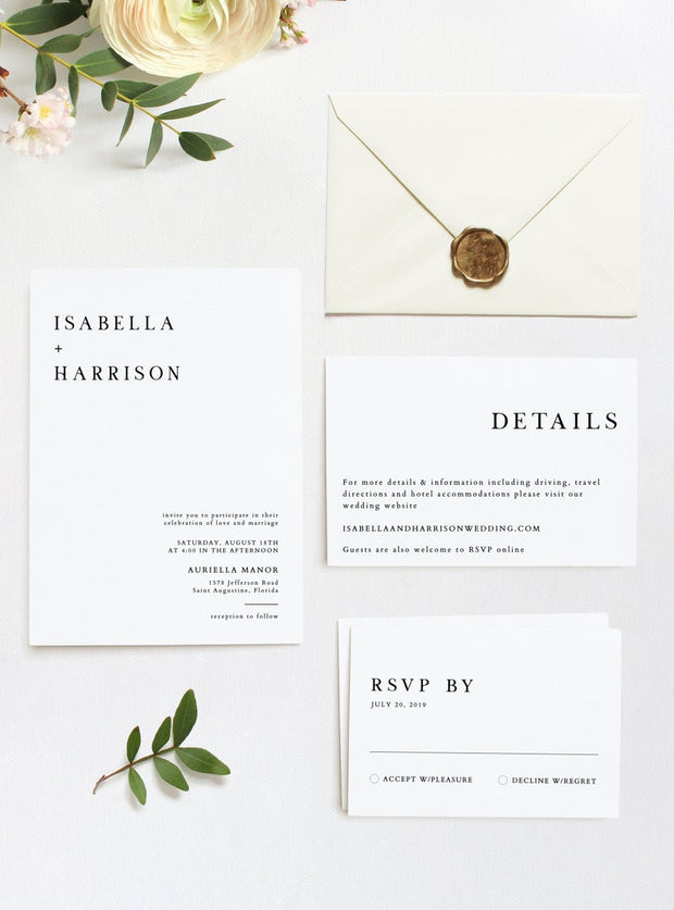 Harper - Minimalist Clean Wedding Invitation Template 3 Piece Suite - Unmeasured Events