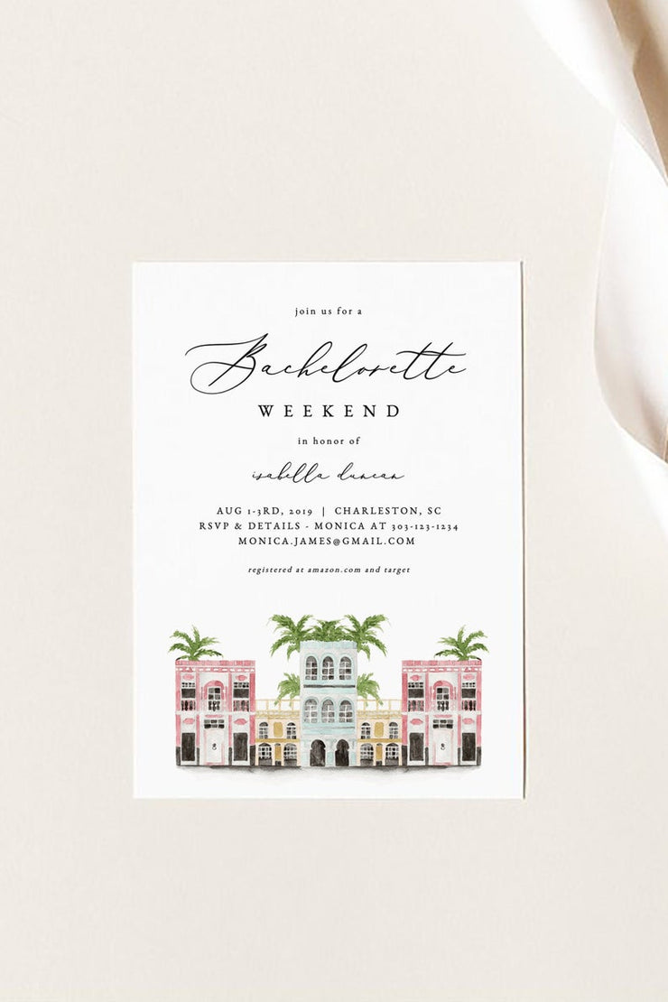 Watercolor Charleston Bachelorette Invitation & Itinerary Template - Unmeasured Events