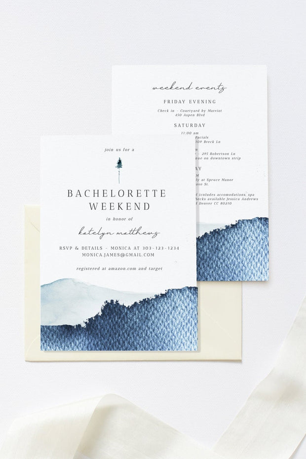 ZURI | Slate Blue Watercolor Mountain Bachelorette Invitation & Itinerary Template