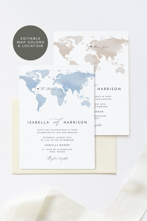 Carmen - Watercolor Map Destination Wedding Invitation Suite Templates