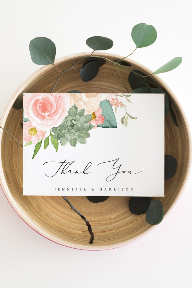 Finley - Rustic Peach Floral & Succulent Wedding Thank You Template - Unmeasured Events