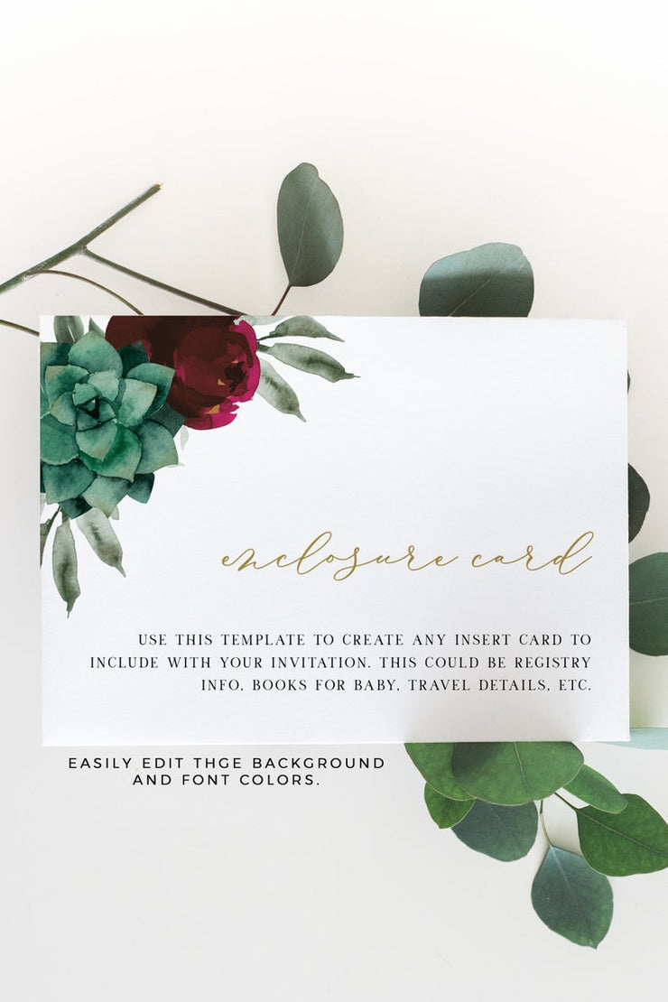 Amy - Burgundy Floral and Succulent Wedding Enclosure Card Template