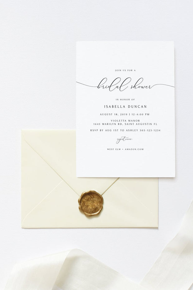 Asher - Minimalist Calligraphy Bridal Shower Invitation Template - Unmeasured Events