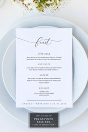 Asher - Minimalist Calligraphy Wedding Menu Template - Unmeasured Events