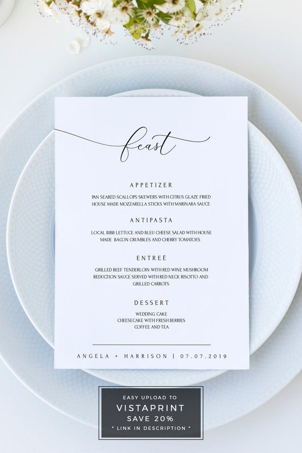 Asher - Minimalist Calligraphy Wedding Menu Template