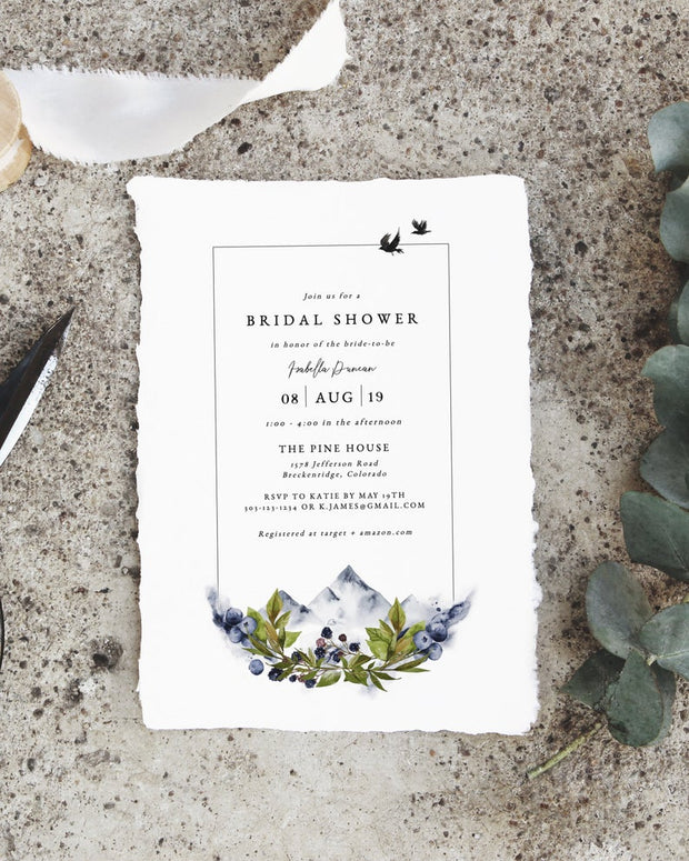 Sierra - Boho Mountain Bridal Shower Invitation Template - Unmeasured Events