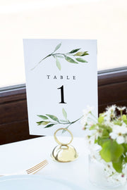 Isabella - Minimal Greenery Wedding Table Number Template