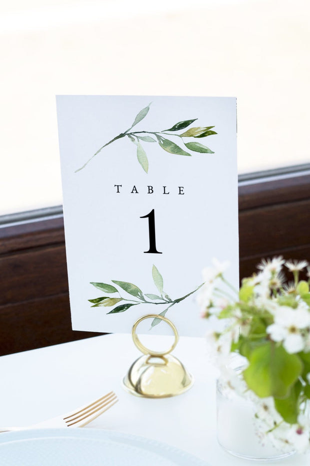 Isabella - Minimal Greenery Wedding Table Number Template - Unmeasured Events