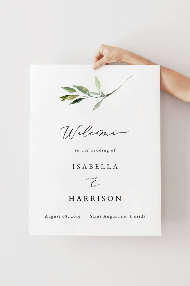 Isabella - Minimal Greenery Wedding Welcome Sign Template - Unmeasured Events