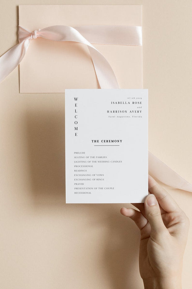 Harper - Minimalist Clean Wedding Program Template