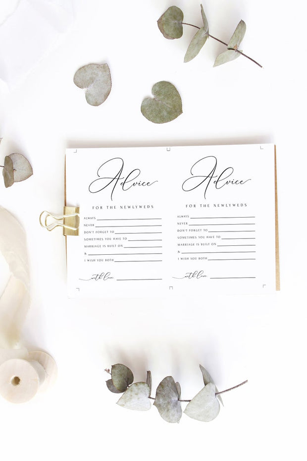 Asher - Minimalist Calligraphy Wedding Newlywed Advice Card Template - Unmeasured Events