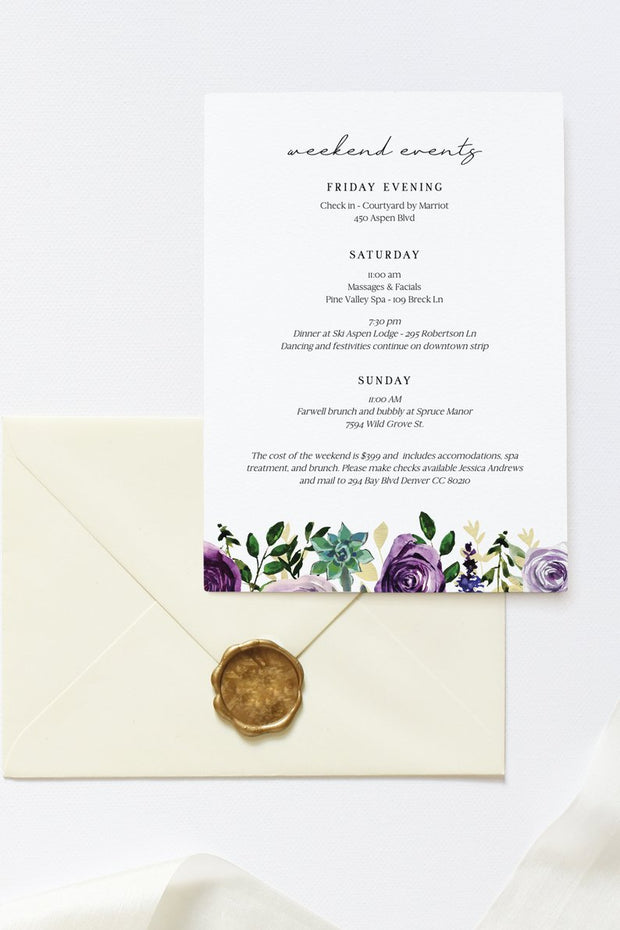 Olivia - Purple Floral and Succulent Bachelorette Invitation & Itinerary Template - Unmeasured Events