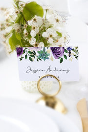 Olivia - Purple Floral and Succulent Place Card Template - Unmeasured Events