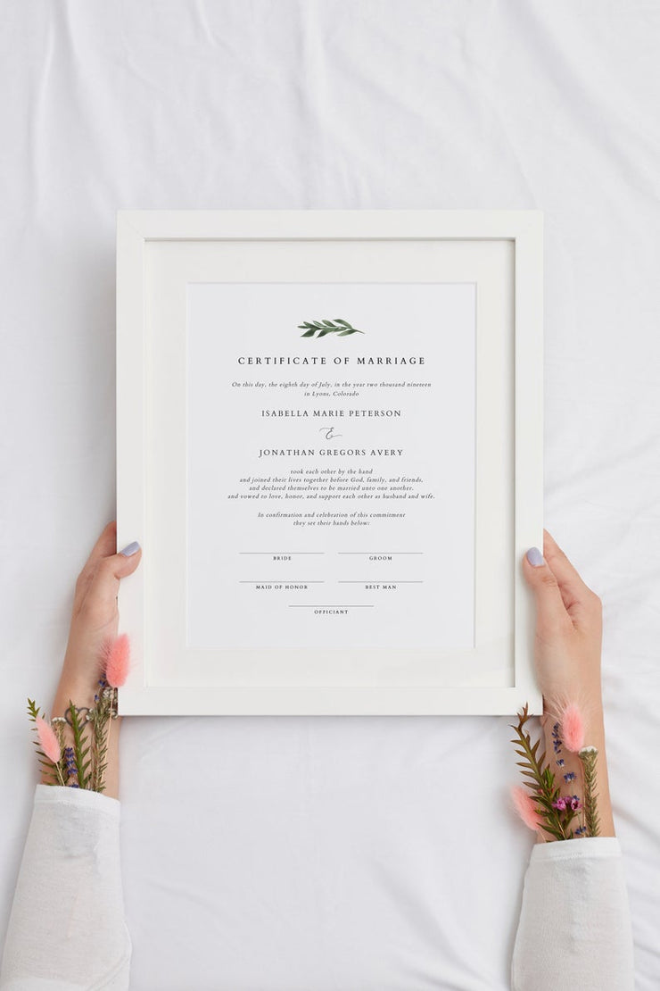 Lana - Minimal Greenery Marriage Certificate Template - Unmeasured Events