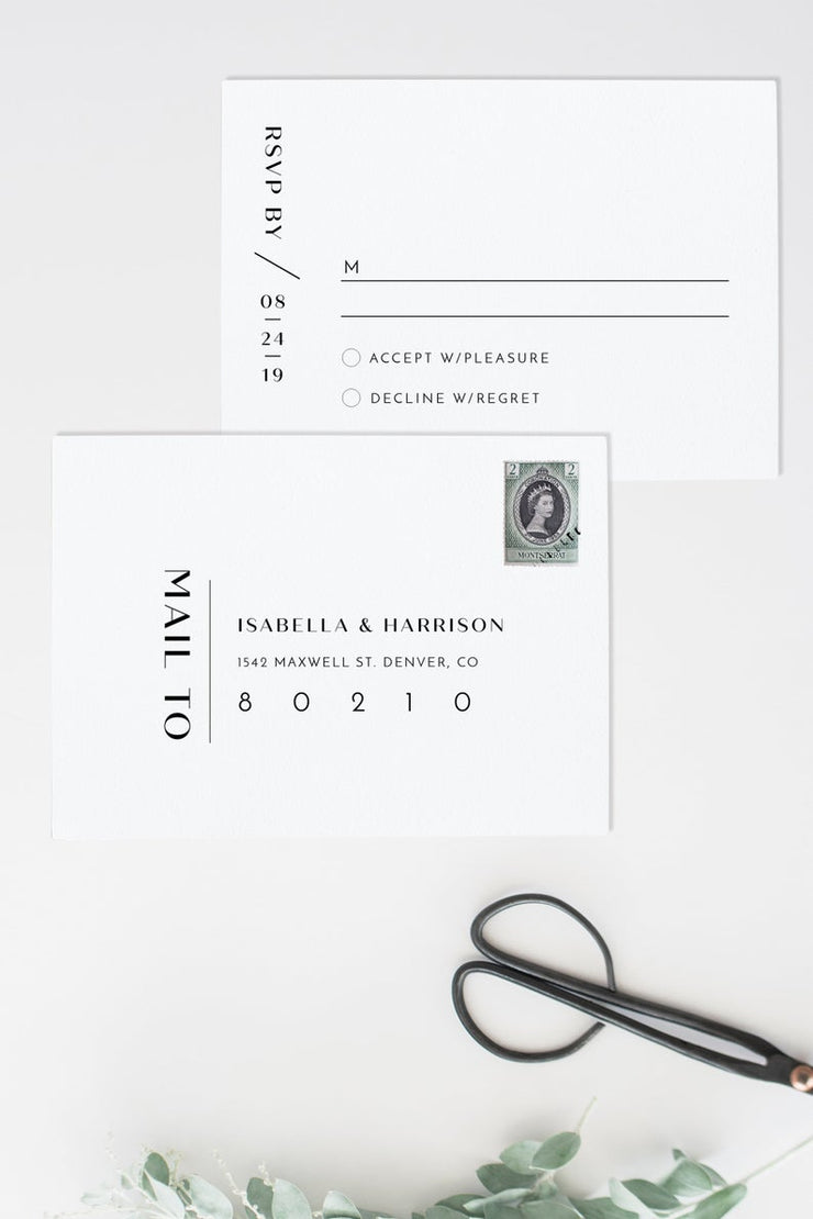 Zara - Minimalist Wedding RSVP Card Template - Unmeasured Events