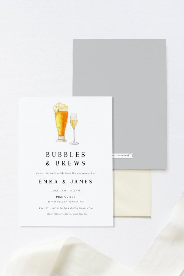 Charlie - Bubbles and Brews Engagement Party Invitation Template