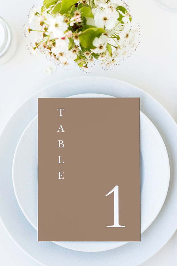 Mia - Earth Tone Minimal Wedding Table Number Template - Unmeasured Events