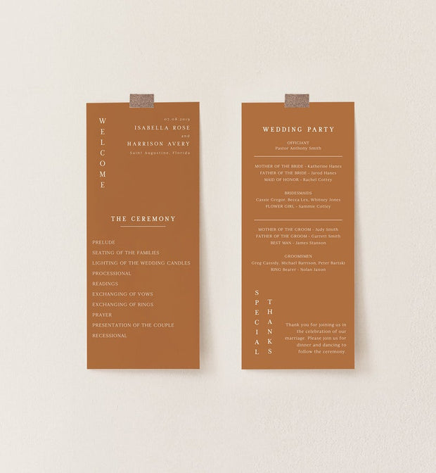 Mia - Burnt Orange Minimal Wedding Program Template - Unmeasured Events