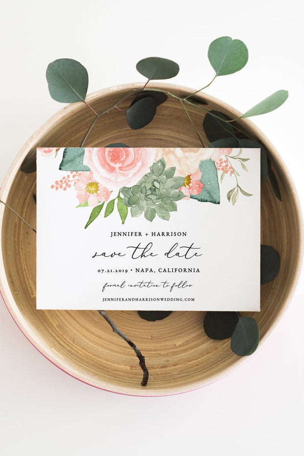 Finley - Rustic Peach Floral & Succulent Wedding Save the Date Template - Unmeasured Events
