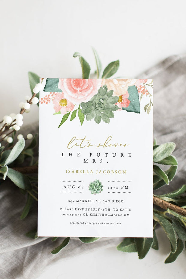 Finley - Rustic Peach Floral & Succulent Bridal Shower Invitation Template