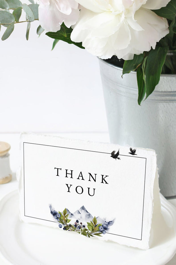 Sierra - Boho Mountain Wedding Thank You Card Template - Unmeasured Events