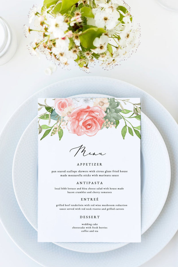 Finley - Rustic Peach Floral & Succulent Wedding Menu Template