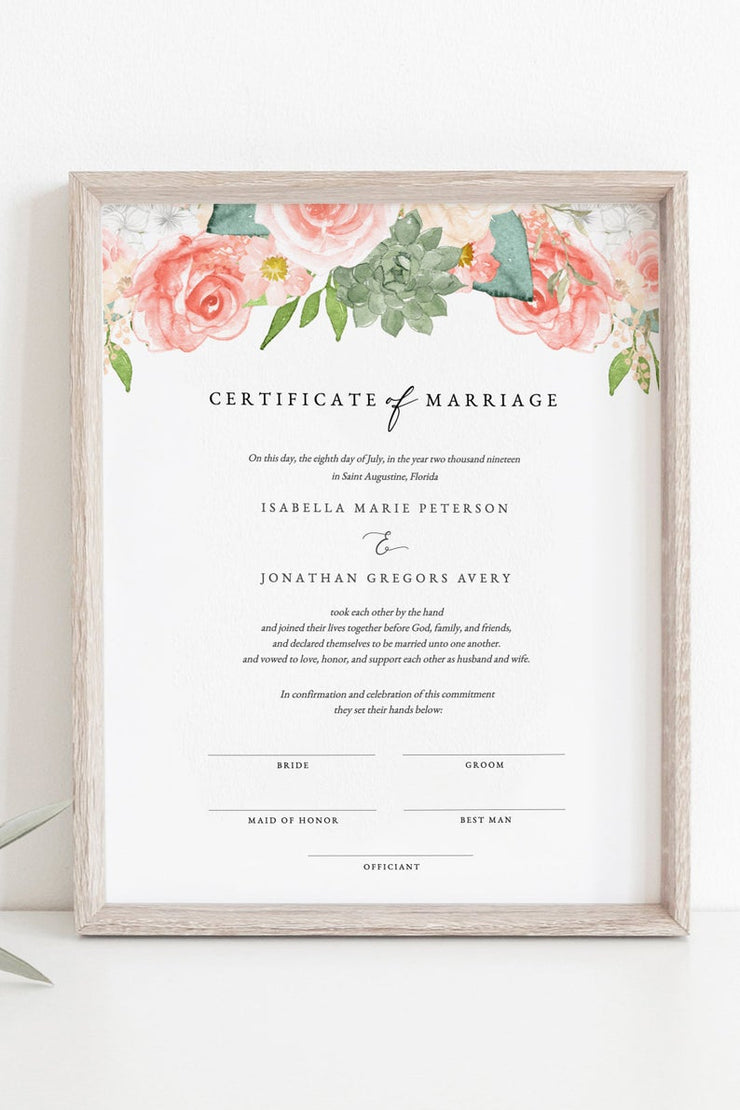 Finley - Rustic Peach Floral & Succulent Wedding Marriage Certificate Template - Unmeasured Events