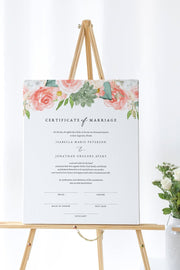 Finley - Rustic Peach Floral & Succulent Wedding Marriage Certificate Template