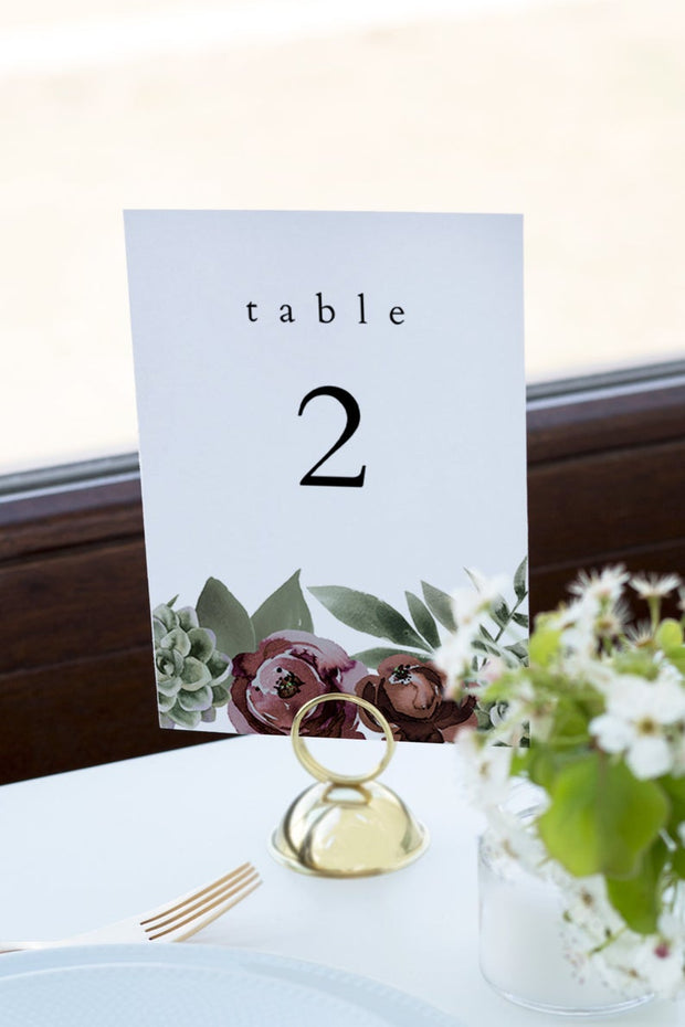 Ava - Boho Burgundy & Succulent Wedding Table Number Template