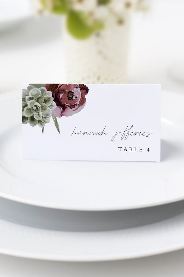 Ava - Boho Burgundy & Succulent Wedding Place Card Template - Unmeasured Events