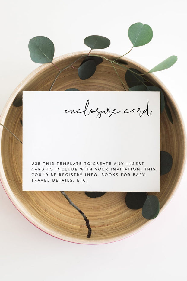 Adella -  Modern Minimalist Wedding Enclosure Card Template - Unmeasured Events