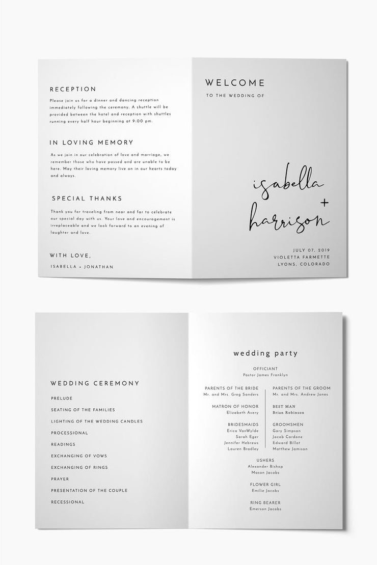 Adella - Modern Minimalist Folded Wedding Program Template - Unmeasured Events