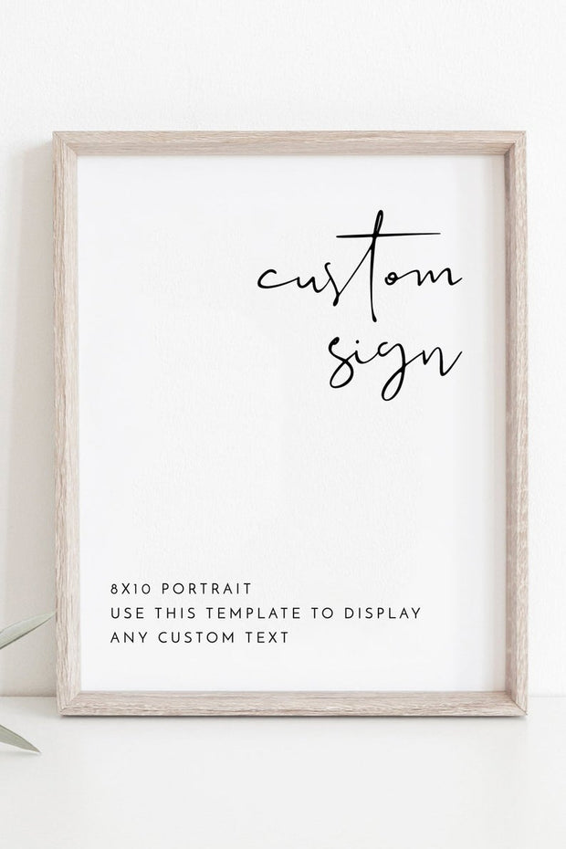 "Adella - Modern Minimalist 8x10"" Custom Wedding Sign Template - Unmeasured Events"