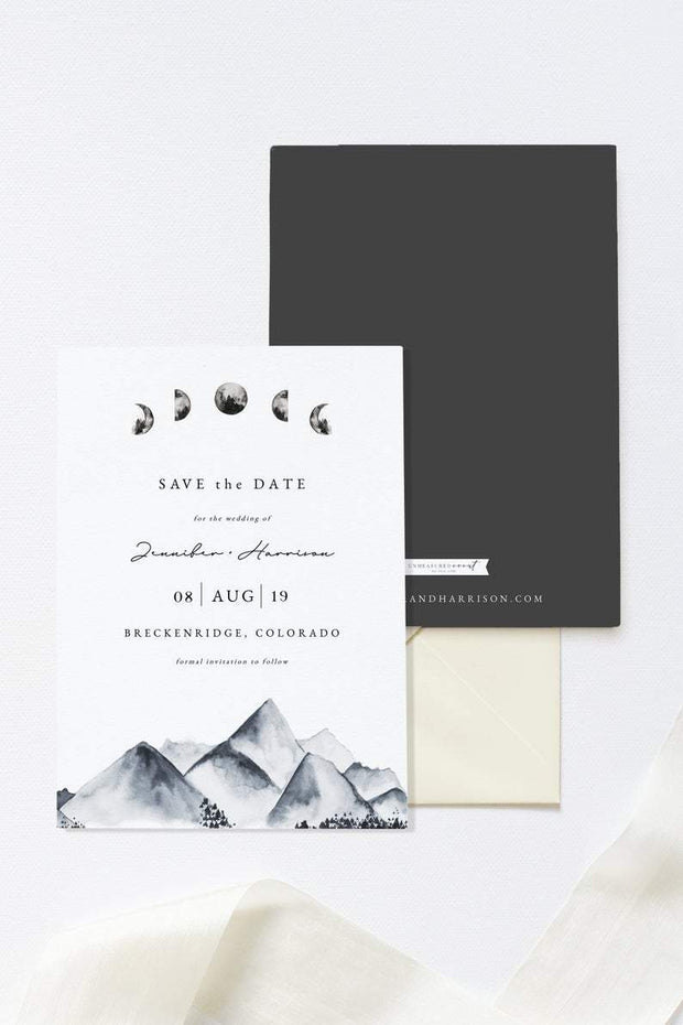 Denali - Bohemian Mountain & Moon Wedding Save the Date Template - Unmeasured Events
