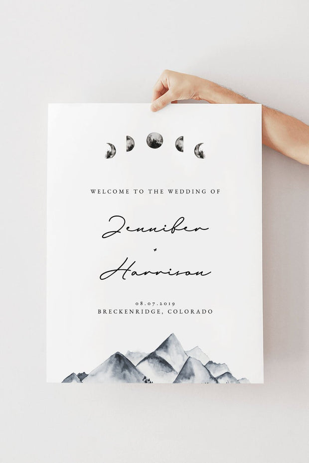 Denali - Bohemian Mountain & Moon Wedding Welcome Sign Template - Unmeasured Events