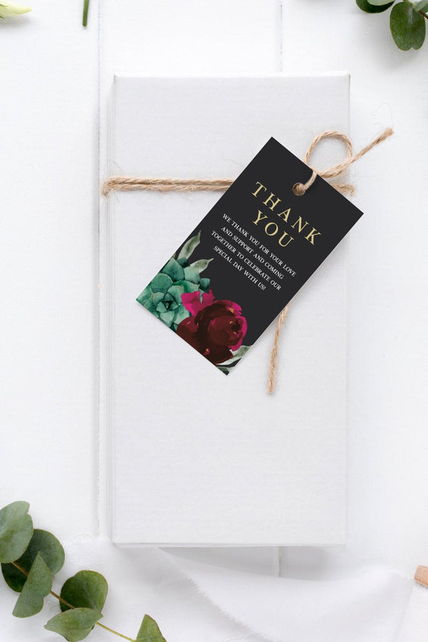 Amy - Burgundy Floral and Succulent Favor Tag Template