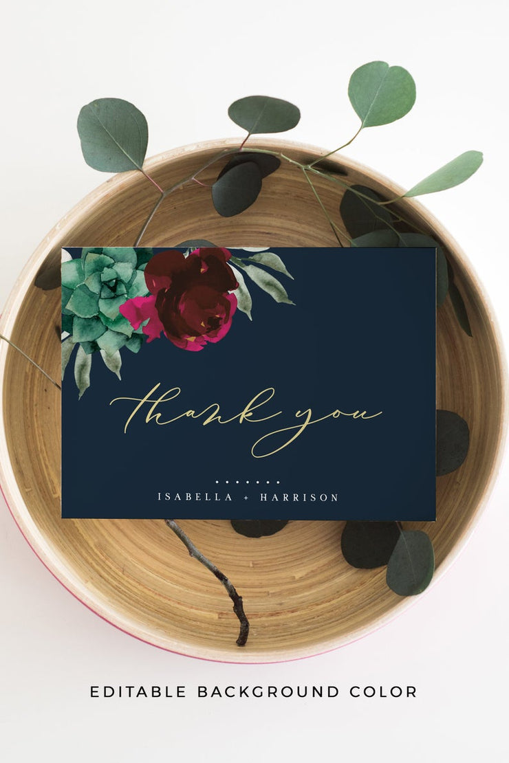 Amy - Burgundy Floral and Succulent Wedding Thank You Card Template