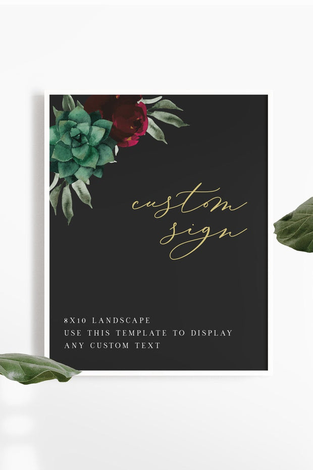 "Amy - Burgundy Floral and Succulent Wedding Custom 8x10"" Sign Template"