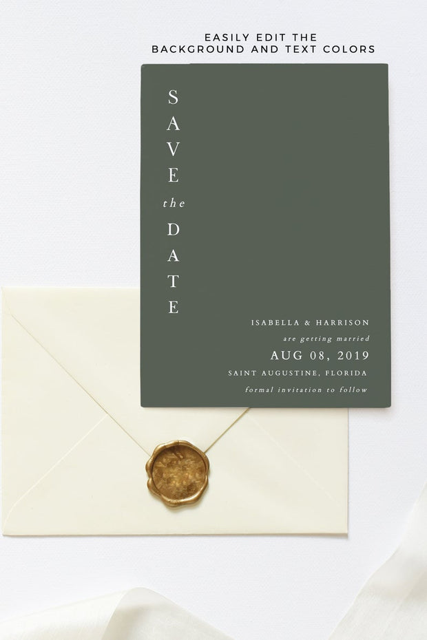 Harper - Minimalist Clean Wedding Save the Date Template
