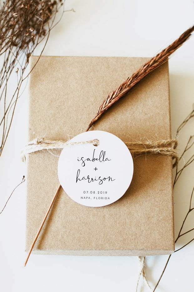 Adella - Modern Minimalist Wedding Round Sticker/Tag Template - Unmeasured Events