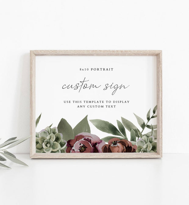 Ava - Boho Burgundy & Succulent Custom 8x10 Sign Template - Unmeasured Events