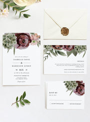 Ava - Boho Burgundy & Succulent Wedding Invitation Template Bundle - Unmeasured Events